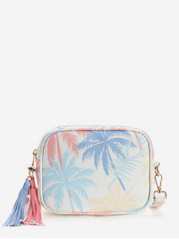 Discount Leisure Holiday Tropical Leaves Print Tassels Crossbody Bag