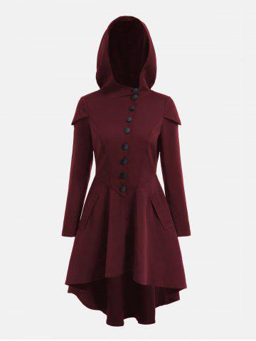 Shop Lace Up Layered High Low Hooded Coat