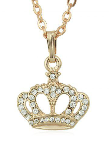 Outfit Rhinestone Crown Shape Pendant Chain Necklace