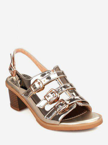 Discount Plus Size Low Heel Holographic Buckles Slingback Sandals