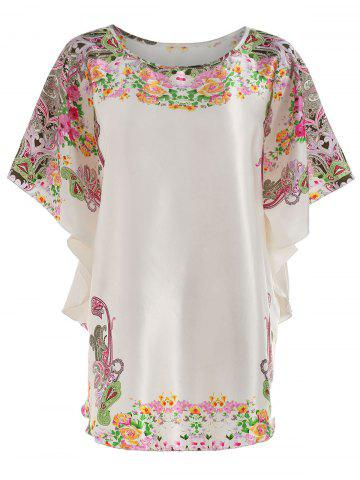 Shop Satin Batwing Sleeve Print Nightdress