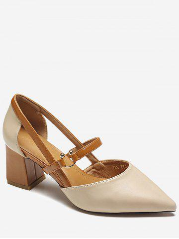 Cheap Chunky Heel Pointed Toe Chic Slip On Pumps
