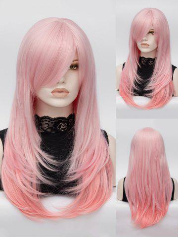 Trendy Long Oblique Bang Layered Colormix Straight Lolita Synthetic Wig