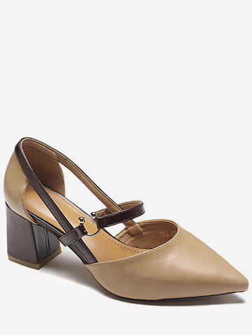 Chunky Heel Pointed Toe Chic Slip On Pumps - LIGHT KHAKI Buy Cheap Collections 3WOvi