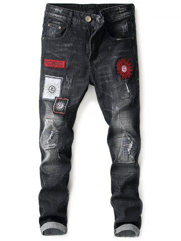 Fashion Floral Embroidery Five Pockets Jeans