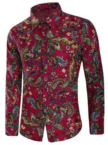 Fashion Casual Allover Paisley Floral Print Shirt