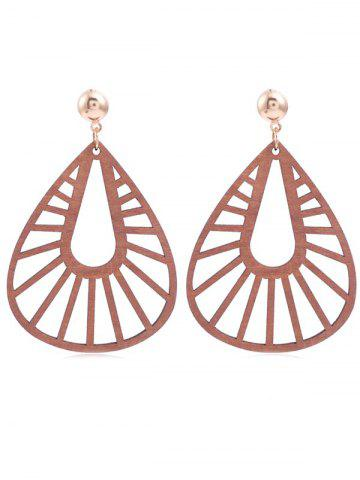 Fashion Hollow Out Water Drop Wooden Dangle Earrings