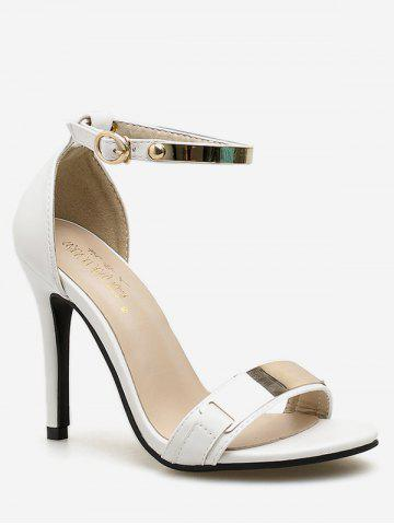 Affordable Metal Panel Ankle Strap High Heel Pumps