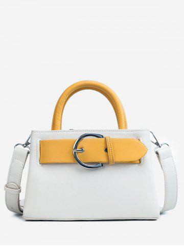Affordable Minimalist PU Leather Color Block Handbag with Strap