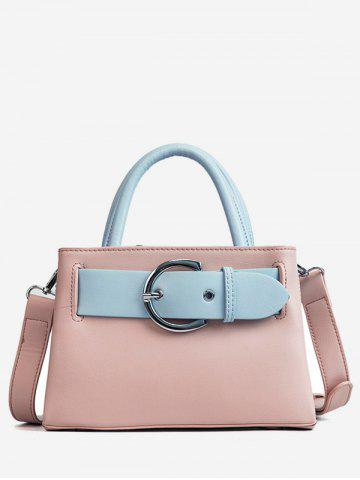 Trendy Minimalist PU Leather Color Block Handbag with Strap