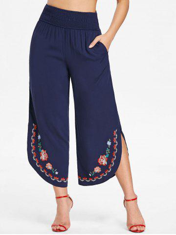 Affordable Shirred Waist Embroidered Palazzo Pants