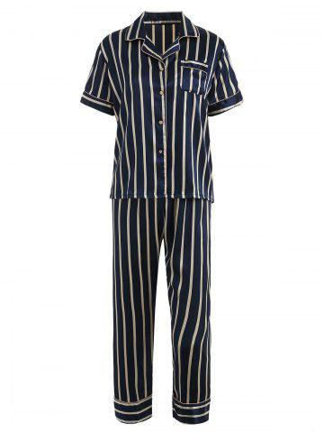 Unique Striped Print Sleepwear Suit