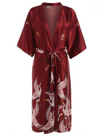Outfits Drop Shoulder Crane Print Sleeping Robe