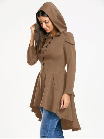 Lace Up Layered High Low Hooded Coat