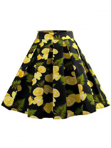 Fruit Print Zipper Waist A Line Skirt