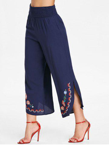 Shirred Waist Embroidered Palazzo Pants
