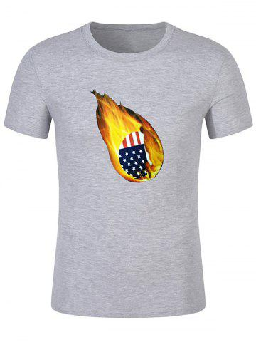 American Flag Print Fire Ball Short Sleeve Casual T-shirt