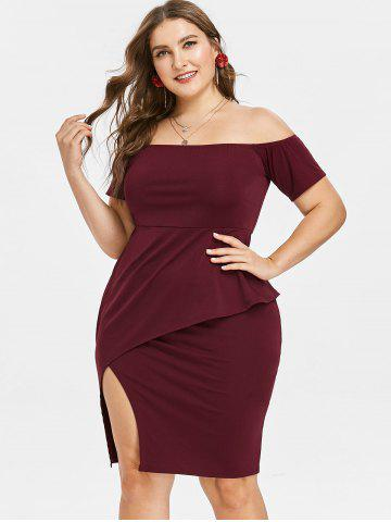 Plus Size Off Shoulder Peplum Pencil Dress