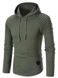 Pleated Raglan Sleeve Hem Curved Hooded Tee -