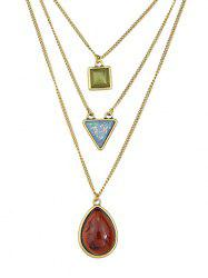 Teardrop Geometric Shape Pendant Layer Chain Necklace -