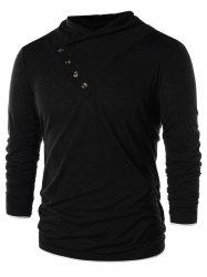 Button Embellished Solid Color Casual T-shirt -