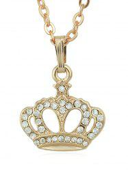 Rhinestone Crown Shape Pendant Chain Necklace -