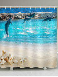 Beach Dolphin Print Waterproof Bathroom Shower Curtain -