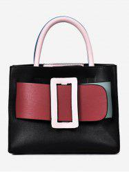 Color Block Buckled Belt Minimalist Shopping Handbag -