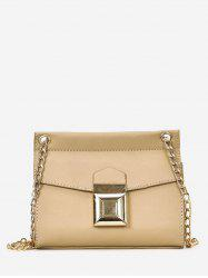 Faux Leather Daily Flapped Metallic Minimalist Crossbody Bag -