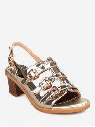 Plus Size Low Heel Holographic Buckles Slingback Sandals -