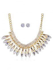 Rhinestone Pendant Necklace and Stud Earrings -