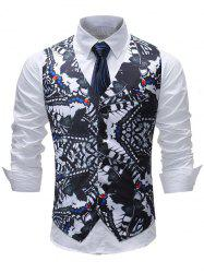 V Neck Belt Design Single Breasted Butterflies Print Waistcoat -