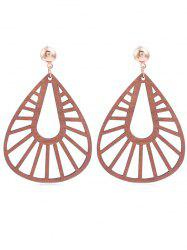 Hollow Out Water Drop Wooden Dangle Earrings -