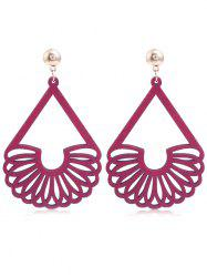 Bohemian Hollow Out Fan Shaped Wooden Earrings -