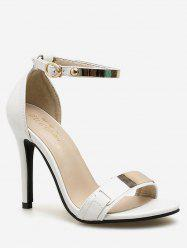 Metal Panel Ankle Strap High Heel Pumps -