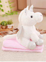 Unicorn Shape Plush Toy with Blanket -