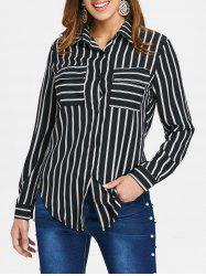 Striped Front Pockets Shirt -