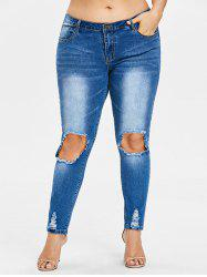 Rosegal Plus Size Threadbare Holes Skinny Jeans -