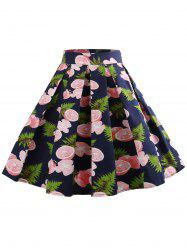 Fruit Print Zipper Waist A Line Skirt -