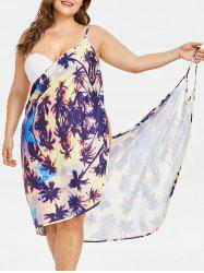 Coconut Tree Print Plus Size Beach Dress -