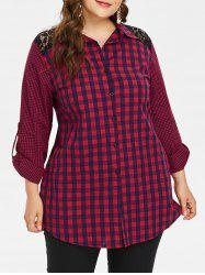 Plus Size Lace Insert Plaid Shirt -
