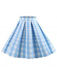 Plaid Zipper Waist Skirt -