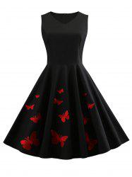 Butterfly Embroidery V Neck Vintage Dress -