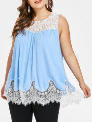 Lace Panel Plus Size Round Neck Tank Top -