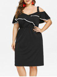 Contrast Trim Plus Size Flounce Knee Length Dress -