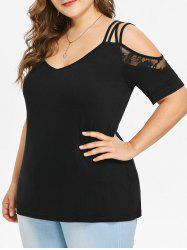 Plus Size Cold Shoulder Lace Insert T-shirt -