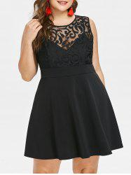 Plus Size Mesh Panel Sleeveless Dress -