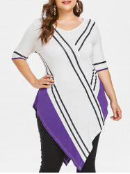 Plus Size V Neck Asymmetric T-shirt -