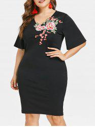 Embroidery Applique Plus Size Bodycon Dress -
