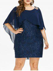 Sequin Embellished Plus Size Lace Panel Bodycon Dress -